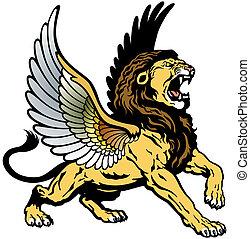 geflügelt, brüllender löwe