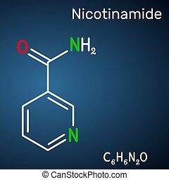 gefunden, nicotinamide, chemische , gebraucht, strukturell, diätetisch, hintergrund, vitamin, ihm, lebensmittel, b3, blaues, nam, c6h6n2o, dunkel, molecule., formel, supplement.