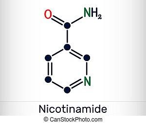 gefunden, nicotinamide, chemische , gebraucht, strukturell, diätetisch, vitamin, ihm, lebensmittel, b3, nam, c6h6n2o, molecule., formel, supplement.