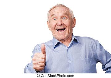 gegen, dehnen, auf, hintergrund, daumen, ihm, aufgeregt, mann, älter, stehende , cool!, seine, während, austeilen, weißes