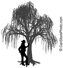 gegen, weinen, junger, lehnend, frau, hut, weidenbaum