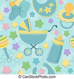 gegenstände, babys, seamless, hintergrund