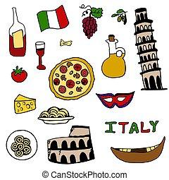 gegenstände, satz, italienesche