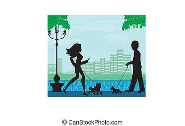 Geh mit dem Hund in einem Stadtpark.