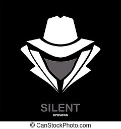 Geheimagenten-Ikone. Inkognito. Hacker. Spion. Undercover.