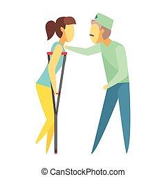 gehen, frau, bunte, doktor, medizin, portion, charaktere, concept., crutches., karikatur, sorgfalt