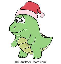 gehen, gekritzel, weihnachten, dinosaurierer, ikone, hat., tragen, bild