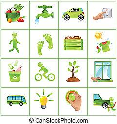 Gehen Sie Green Concept Icons.