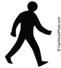 gehen, silhouette, mann