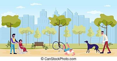 gehende menschen, park, sommer