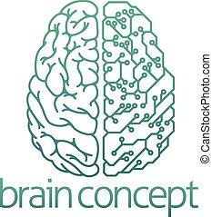 Gehirn-Halb-Elektronik-Konzept.