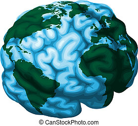 Gehirn-Welt-Illustration