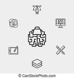gehirn, zeichen, symbol, ikone, vektor
