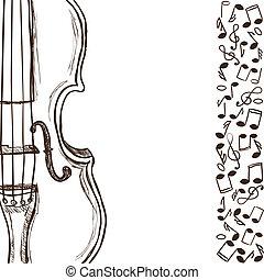 Geigen oder Bass und Musiknoten