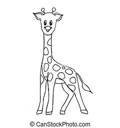 geistig, doodle., gezeichnet, hand, färbung, design, erwachsene, buch, entspannung, giraffe