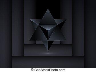 geistig, form., wicca, dreieck, freigestellt, schwarz, icon., merkaba, tetrahedron, linie, stern, geist, symbol., esoterisch, hintergrund., oder, geometrisch, heilig, 3d, geometry., weissagung, koerper, schlanke, licht