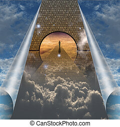 geistig, spagat, ausstellung, himmelsgewölbe, reise, rgeöffnete, mann