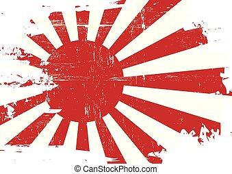 gekratzt, japan markierungsfahne, kriegsbilder