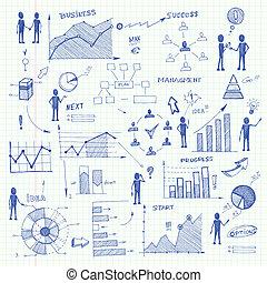 gekritzel, elemente, tabellen, geschaeftswelt, infographics