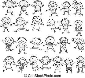 gekritzel, glücklich, karikatur, sammlung, kind