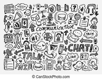 gekritzel, hintergrund, kommunikation