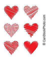 Gekritzelte Herzen (Vektor)