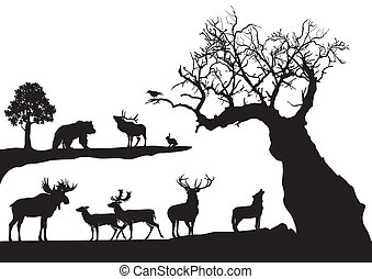 Gekritzelter Baum mit abgelegenen Tieren.