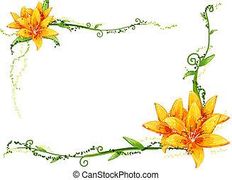 Gelbe Blume und Reben