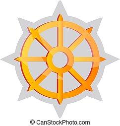 Gelbe buddhistische Symbol-Vektorgrafik auf weißem Hintergrund.