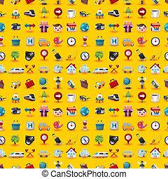 Gelbe Reisesymbole nahtlos Muster.