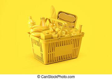 gelber , korb, shoppen, hintergrund., delivery., lebensmittel
