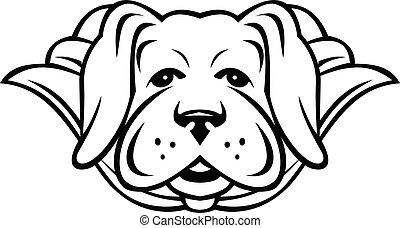 gelber , tragen, labrador, weißes, honigraum, hund, schwarz, ansicht, kap, front