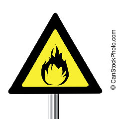 Gelbes Dreieck brennbares Warnzeichen