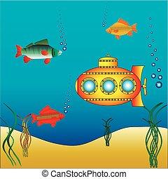 Gelbes U-Boot unter Wasser