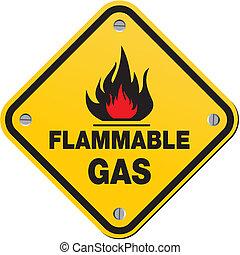 Gelbes Zeichen - brennbares Gas.