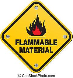 Gelbes Zeichen - brennbares Material.