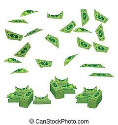 Geld einer Banknoten-Dollar, um den Berg zu fliegen. Auf weißem Hintergrund. Illustration macht 10 Vektor aus. Verwenden Sie für die Presse, Design, die Websites, ein Unterhemd, T-Shirt.