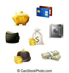 Geld Icon Set, Vektor