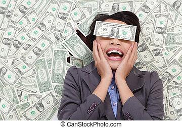 geld, liegen, frau, aufgeregt, geschaeftswelt