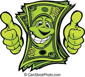 Geld mit Händen, das Daumen nach oben zeigt Zeichentrickvektor Illustr