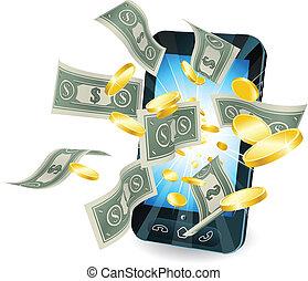 Geld-Mobiltelefon-Konzept