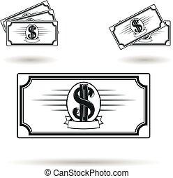 geld, satz, ikone