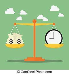 geld, skala, gleichgewicht, zeit