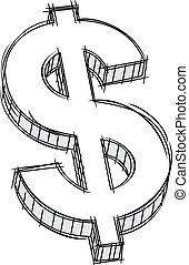 geld, zeichen, gekritzel