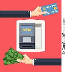 Geldautomaten und Kreditkarten in bar