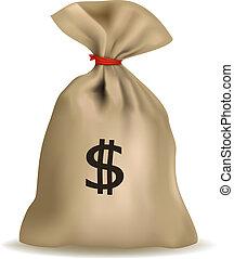 Geldbeutel mit Dollar. Vector.