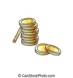 geldmünzen, skizze, gold, abbildung, vektor, stapel