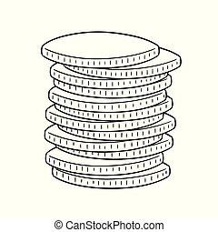 geldmünzen, vektor, satz
