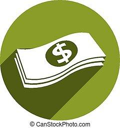 Geldstapel-Vektor-Icon isoliert.