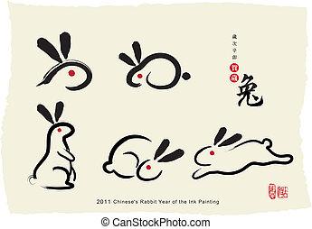 gemälde, chinese's, kanninchen, tinte